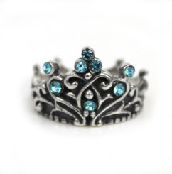 "Sterling Silver Crystal Crown ""Tiara"" Ring, Aqua"