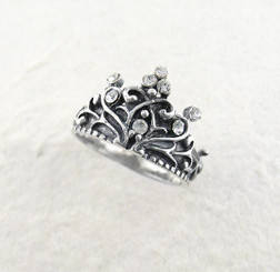 "Sterling Silver Crystal Crown ""Tiara"" Ring, Clear"