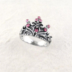 "Sterling Silver Crystal Crown ""Tiara"" Ring, Pink"