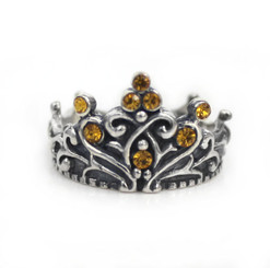 "Sterling Silver Crystal Crown ""Tiara"" Ring, Yellow"