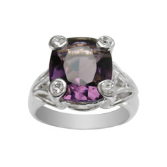 Sterling Silver Four Points Crystal Prongs Cocktail Ring, Purple