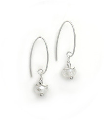 Sterling Silver Faceted Crystals on Cone Modern Hooks, Clear