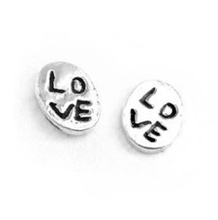 "Sterling Silver ""Love"" Oval Post Stud Earrings"
