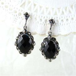 Sterling Silver Marcasite Stones Crystal Earrings
