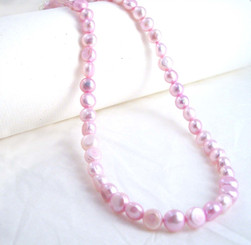 "Modern Cultured Freshwater Pearl Necklace, 16"", Baby Pink"