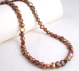 "Modern Freshwater Pearl Necklace, 16"", Brown"