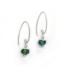 Sterling Silver Faceted Crystals on Cone Modern Hooks, Green AB