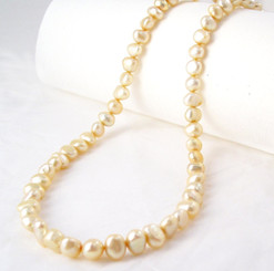 "Modern Freshwater Pearl Necklace, 16"", Champagne"