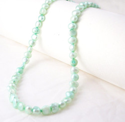 "Modern Freshwater Pearl Necklace, 16"", Light Green"