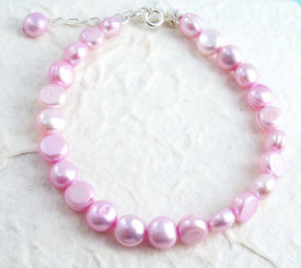 "Modern Cultured Freshwater Pearl Bracelet, 7.5"", Baby Pink"