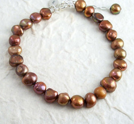 "Modern Cultured Freshwater Pearl Bracelet, 7.5"", Brown"