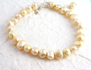 "Modern Cultured Freshwater Pearl Bracelet, 7.5"", Champagne"