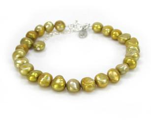 "Modern Cultured Freshwater Pearl Bracelet, 7.5"", Gold"