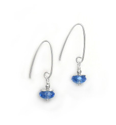 Sterling Silver Faceted Crystals on Cone Modern Hooks, Blue
