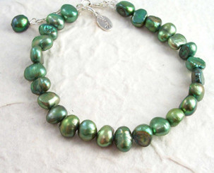 "Modern Cultured Freshwater Pearl Bracelet, 7.5"", Green"
