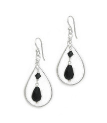 Sterling Silver Open Teardrop Wire Crystal Drop Earrings, Black