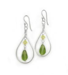 Sterling Silver Open Teardrop Wire Crystal Drop Earrings, Green
