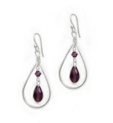 Sterling Silver Open Teardrop Wire Crystal Drop Earrings, Purple