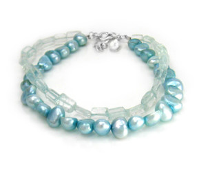 "Cultured Pearls and Stones Double Strand Sterling Silver 7 1/2"" Extendable Bracelet, Blue Topaz"