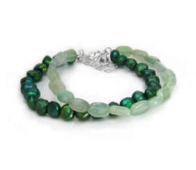 "Cultured Pearls and Stones Double Strand Sterling Silver 7 1/2"" Extendable Bracelet, Green Aventurine"