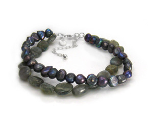 "Cultured Pearls and Stones Double Strand Sterling Silver 7 1/2"" Extendable Bracelet, Labradorite"