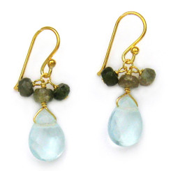 Gold Plated Sterling Silver Crystal Briolette Drops and Stone Cluster Earrings, Aqua