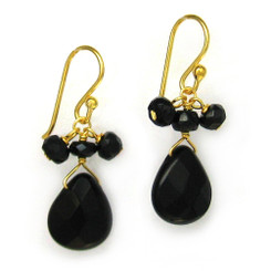 Gold Plated Sterling Silver Crystal Briolette Drops and Stone Cluster Earrings, Black