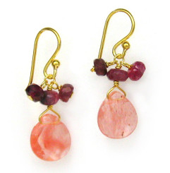 Gold Plated Sterling Silver Crystal Briolette Drops and Stone Cluster Earrings, Cherry Quartz