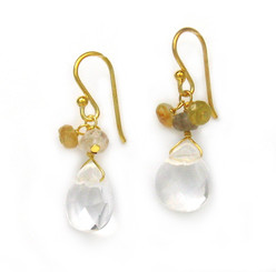 Gold Plated Sterling Silver Crystal Briolette Drops and Stone Cluster Earrings, Clear