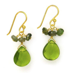 Gold Plated Sterling Silver Crystal Briolette Drops and Stone Cluster Earrings, Green