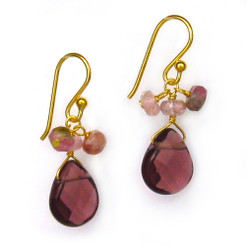 Gold Plated Sterling Silver Crystal Briolette Drops and Stone Cluster Earrings, Purple