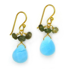 Gold Plated Sterling Silver Crystal Briolette Drops and Stone Cluster Earrings, Sky Blue