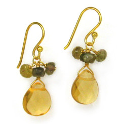 Gold Plated Sterling Silver Crystal Briolette Drops and Stone Cluster Earrings, Yellow