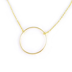 Gold-plated Sterling Silver Eternity Open Circle Necklace, Adjustable 16-18""