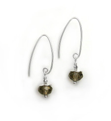 Sterling Silver Faceted Crystals on Cone Modern Hooks, Smoky
