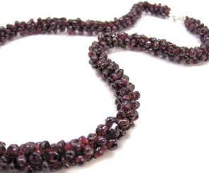 Genuine Garnet Hand Woven Mesh Strand Sterling Clasp Necklace, 20
