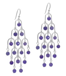 Sterling Silver Arches and Stone Chandelier Earrings, Lavender Quartz