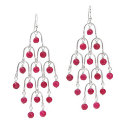 Sterling Silver Arches and Stone Chandelier Earrings, Strawberry Quartz