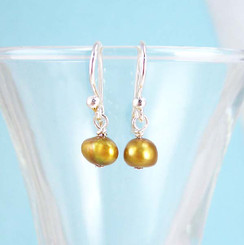 Dainty Pearl & Sterling Silver Gold Earrings