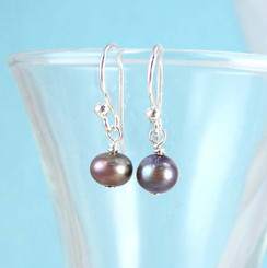 Dainty Pearl & Sterling Silver Peacock Earrings