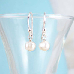 Dainty Pearl & Sterling Silver White Earrings