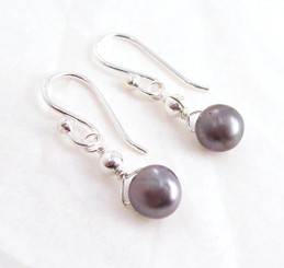 Dainty Sterling Silver and Cultured Freshwater Peacock Pearl Drop Earrings
