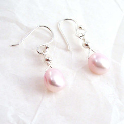 Dainty Sterling Silver and Cultured Freshwater Pink Pearl Drop Earrings