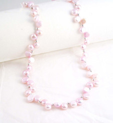 "Cultured Freshwater ""Dancing"" Pink Pearl Sterling Silver Necklace, 16"""