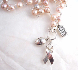 "Sterling Silver Cultured Freshwater Pearl Breast Cancer ""Survivor"" Ribbon Multiple Charms Necklace, 16"""