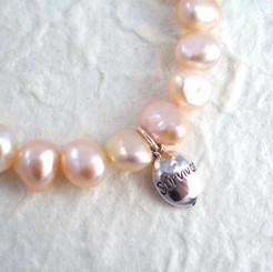 """Sterling Silver """"Survivor"""" Pearl Breast Cancer Awareness Charm Bracelet"""