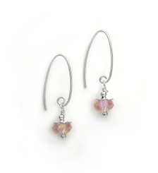Sterling Silver Faceted Crystals on Cone Modern Hooks, Pink AB