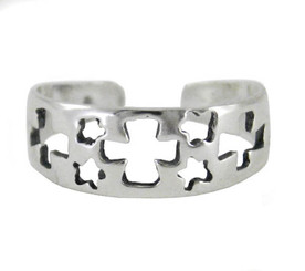 Sterling Silver Cutout Crosses and Stars Band Adjustable Toe Ring