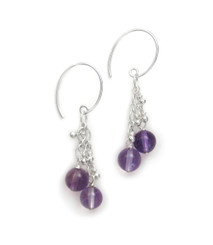 "Sterling Silver Gemstones Tiered Chain ""Talia"" Earrings, Amethyst"
