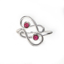 Sterling Silver Crisscrossing Treble Clef and Crystals Adjustable Toe Ring, Pink